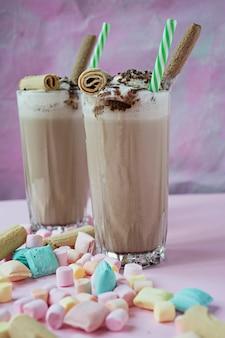 Milkshake with ice cream and whipped cream