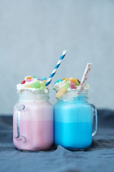 Milkshake with sweets