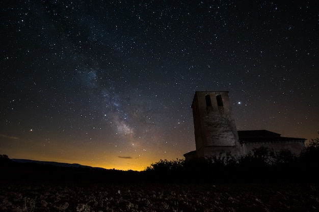 Milky way on an ancient hermitage of segovia,spain