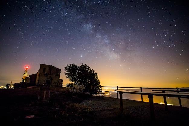 Млечный путь и комета neowise в церкви сантуари-де-ла-маре-де-деу-дель-мон, испания