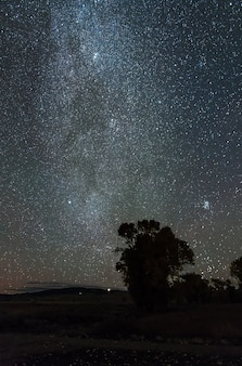 Milky way in the dark night over mormon row historic