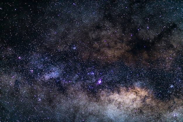 The milky way, details of its colorful core, outstandingly bright