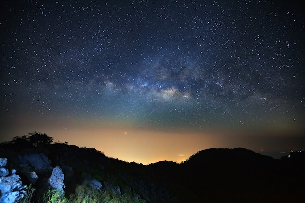Milky way galaxy at doi luang chiang dao.long exposure photograph.with grain