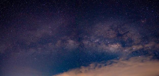 Milky way galaxy on night sky background