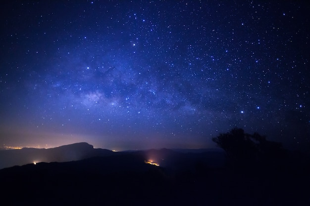 Milky way galaxy with stars and space dust in the universe at doi inthanon
