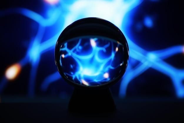 魔法の領域の天の川、占い師、マインドパワーの概念。魔法のボールの予測。不思議な構図。占い師、マインドパワー、予測コンセプト。コピースペース