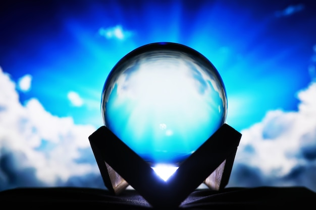 Milky way in magic sphere,fortune teller,mind power concept. magic ball predictions. mysterious composition. fortune teller, mind power, prediction concept. copy space