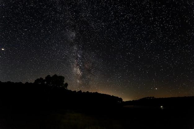 Granadilla extremadura 스페인의 숲 위의 은하수