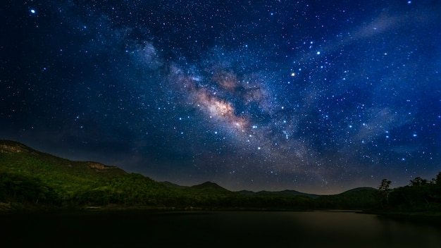 Milky way and starry sky background.