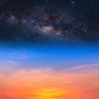 Milky way on the sunset sky