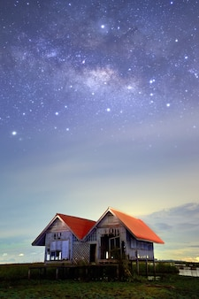 The milky way and two houses
