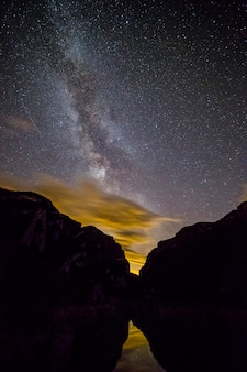 Milky way view at night between mountains