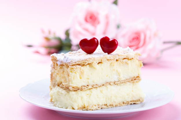 Mille feuille cake with vanilla cream