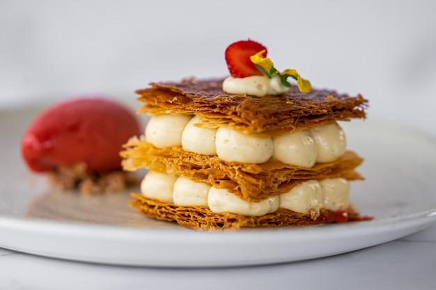 Mille feuille dessert with strawberriy and icecream