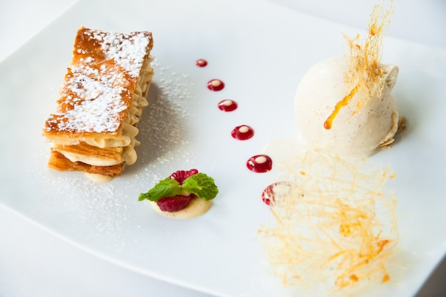 Mille feuille, french dessert with ice-cream