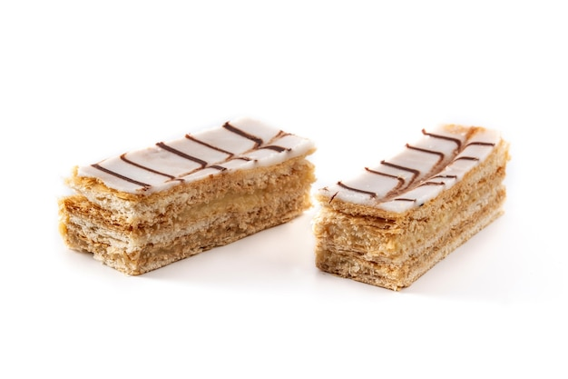 Millefoglie or french mille-feuille isolated on white background