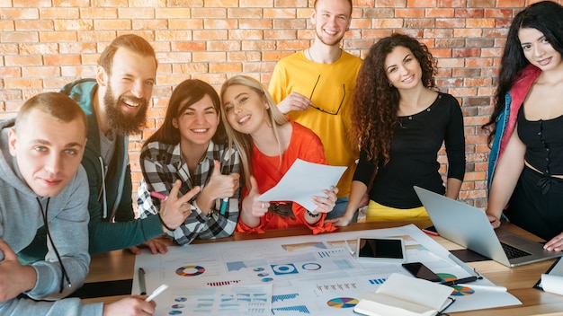 Millennials business . successful teamwork. people working together on project.