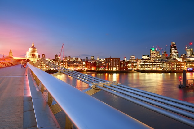 Millennium bridge leading to saint paul's cathedral in central london