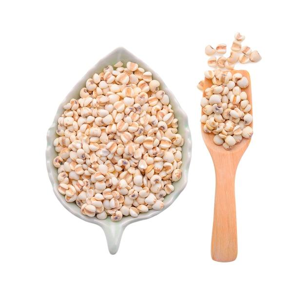 Millet grains on white.