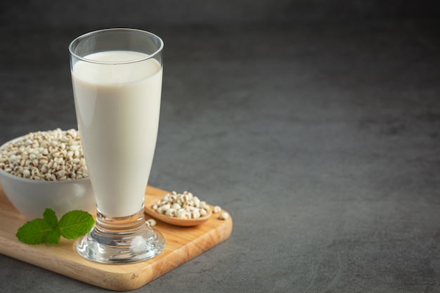 Millet milk in glass ready to serve