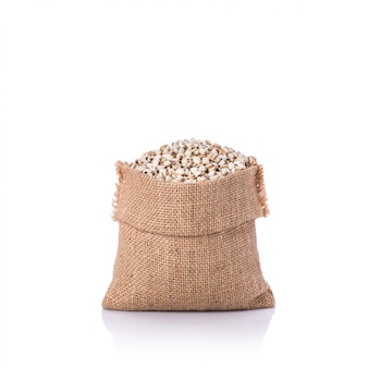 Millet rice or millet grains in small sack.