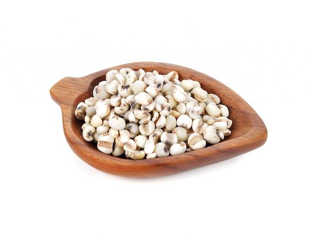 Millet rice, millet grains on white