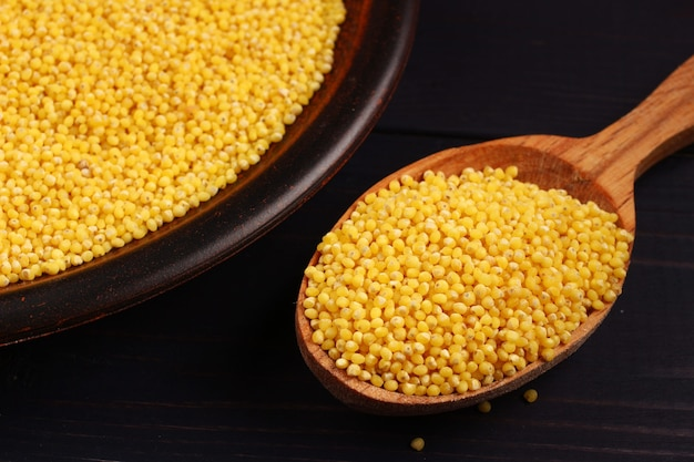 Millet in a spoon and a plate