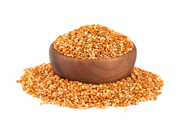 Millet in wooden bowl, isolated  unpeeled millet seeds.