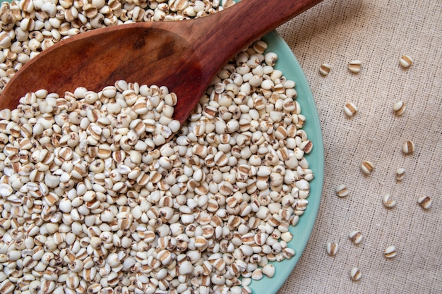Millet in a wooden spoon