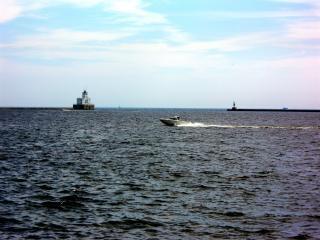 Милуоки harborfront, штат висконсин, маяк
