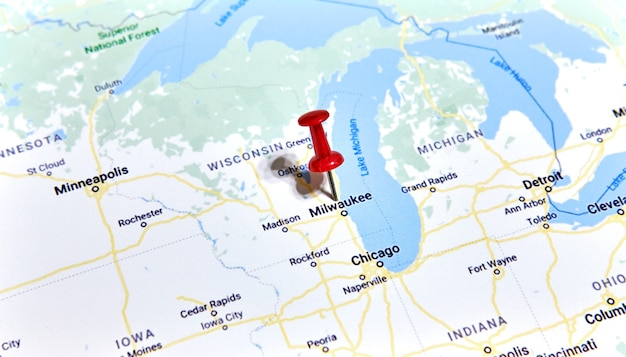 Milwaukee, wisconsin, usa on a map with a pin