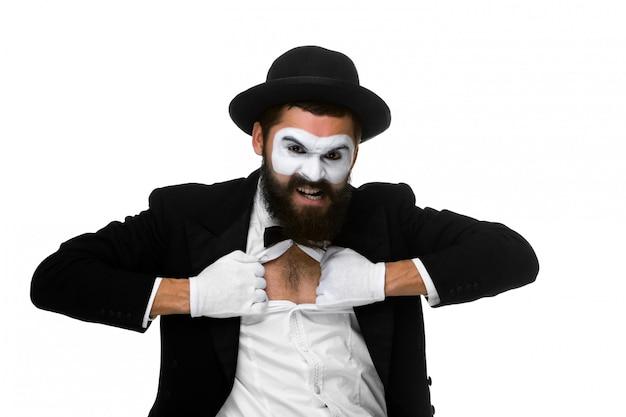 Мим как бизнесмен, срывая его рубашку Бесплатные Фотографии