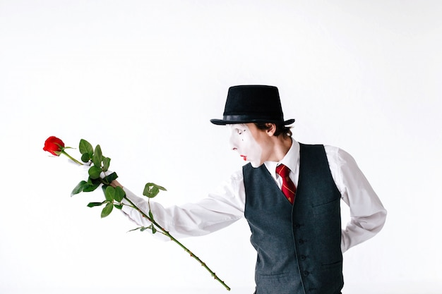 Mime dances with a rose