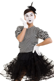 Mime woman artist looking at camera