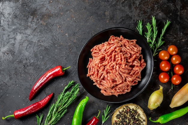 Фарш на сковороде с ингредиентами