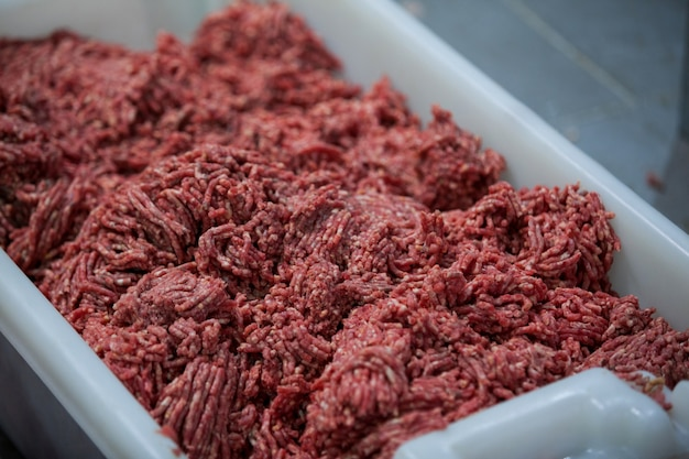 Minced meat at meat factory
