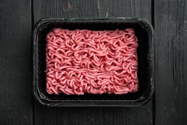 Minced meat in packaging set,