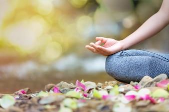 Mind healthy lifestyle hand gesture.