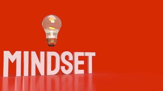 赤い表面にマインドセットの言葉と電球