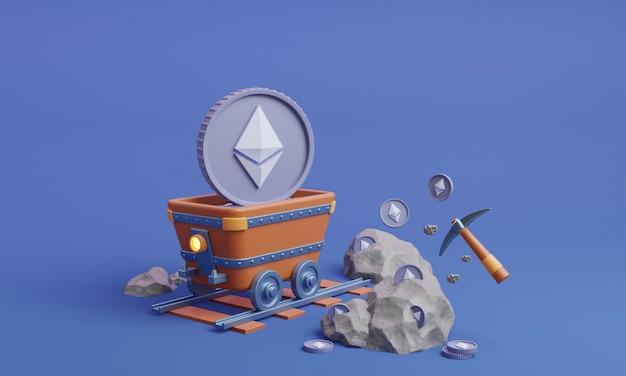 イーサリアムコインでレール上のトロッコ3dイラスト暗号通貨マイニング3dレンダリング