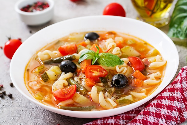 Minestrone, italian vegetable soup with pasta. vegan food