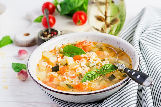 Minestrone vegetable soup with pasta