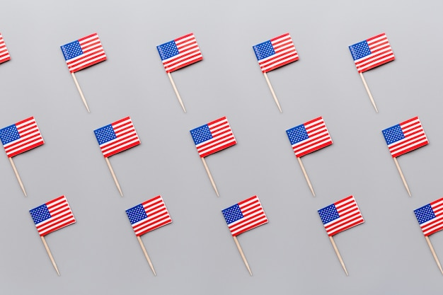 Mini american flags on gray