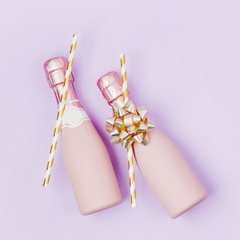 Mini bottles of champagne. valentines day or birthday party concept theme. flat lay, top view