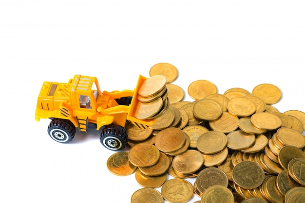 Mini bulldozer truck loading stack coin
