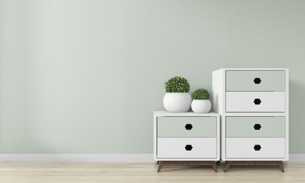 Mini cabinet japan minimal design decoration on zen room interior design. 3d rendering