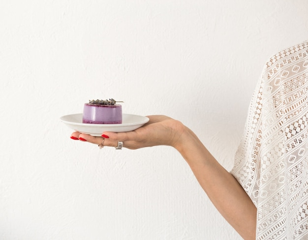 Mini cake or cheesecake in woman hands dessert for valentines day