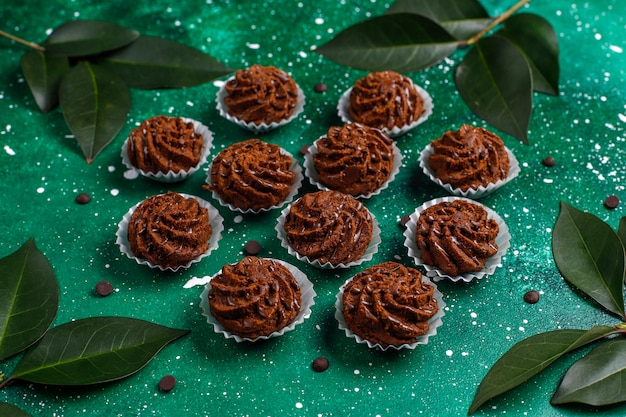 Mini cakes truffles with chocolate drops and cocoa powder
