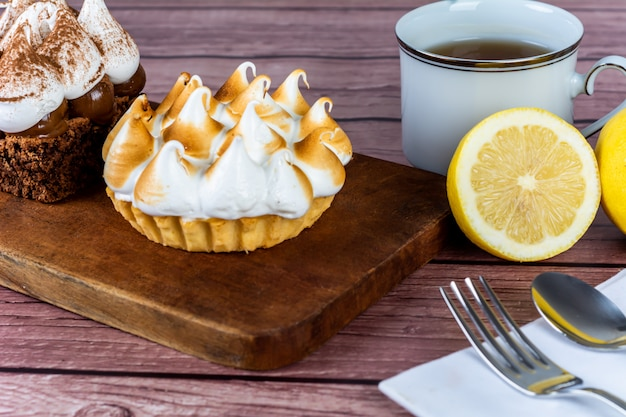 Mini chocolate cake and lemon pie