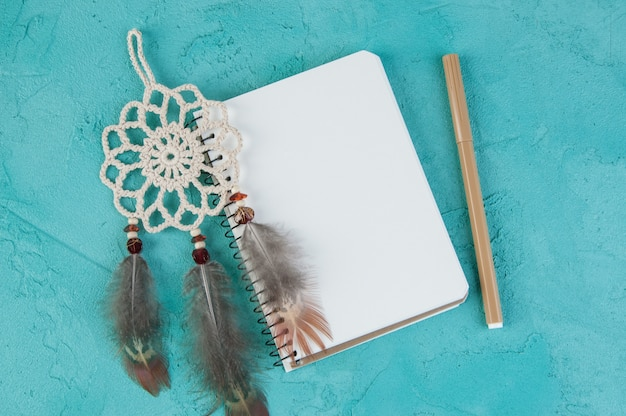 Mini dream catcher and blank notebook